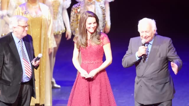 The Duchess of Cambridge on stage following the curtain call on the opening night of the musical 42nd Street in aid of East Anglia's Children's...
