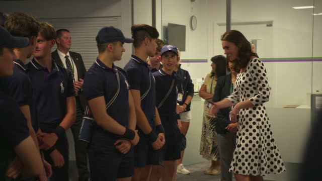 the duchess of cambridge, patron of the all england lawn tennis and croquet club , attended the championships, wimbledon on july 3rd, 2017. shows... - international tennis federation stock videos & royalty-free footage