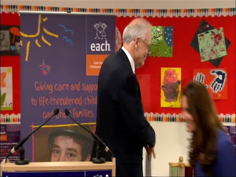 the duchess of cambridge takes to lectern to make her first public speech at east anglia childrens hospice. - east anglia stock-videos und b-roll-filmmaterial