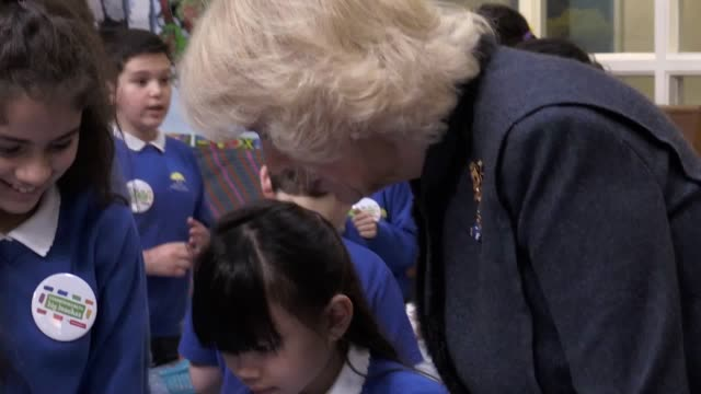the duchess of cornwall attends a commonwealth big lunch at the barn croft primary school in walthamstow - croft stock videos & royalty-free footage