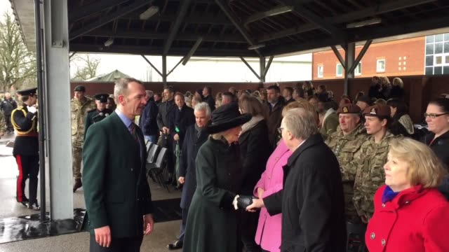 """the duchess of cornwall has hailed the """"skill and spirit"""" of soldiers from the 4th battalion the rifles as they return home from deployment in iraq.... - aldershot stock videos & royalty-free footage"""