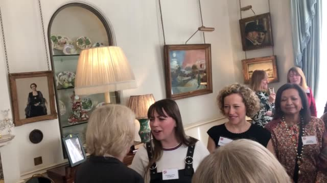 the duchess of cornwall host a reception for the women of the world festival at clarence house this year was the fourth reception that camilla has... - キャシー・ニューマン点の映像素材/bロール