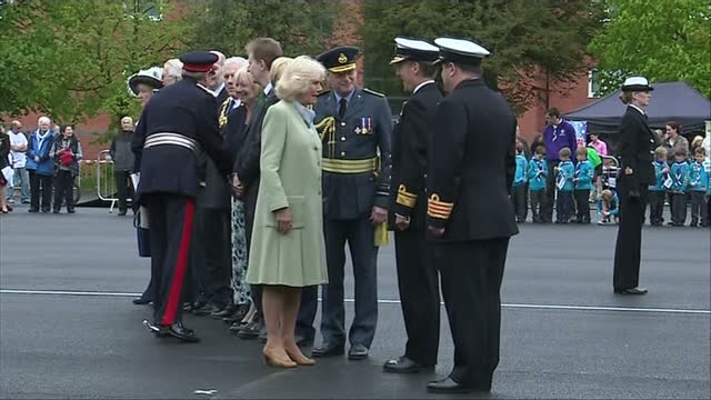 The Duchess of Cornwall on a visit to RAF Leeming meeting wounded servicemen Shows exterior shots of Camilla Duchess of Cornwall meeting and shaking...