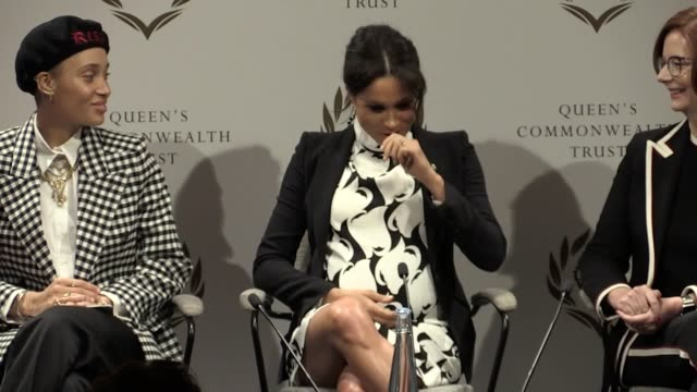 the duchess of sussex discusses her pregnancy at a panel event at king's college in london convened by the queen's commonwealth trust to mark... - 国際女性デー点の映像素材/bロール