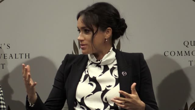 the duchess of sussex discusses men and feminism at a panel event at king's college in london convened by the queen's commonwealth trust to mark... - 国際女性デー点の映像素材/bロール