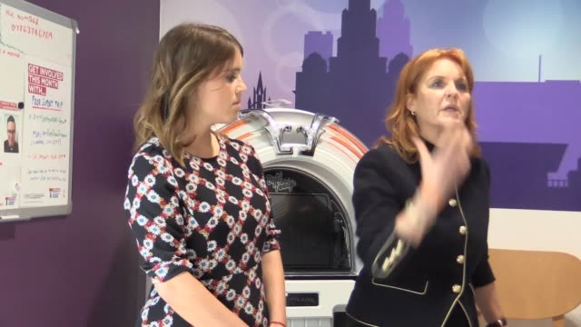 the duchess of york and her daughter princess eugenie visit the teenage cancer trust unit at alder hey children's hospital in liverpool to mark the... - princess stock videos & royalty-free footage