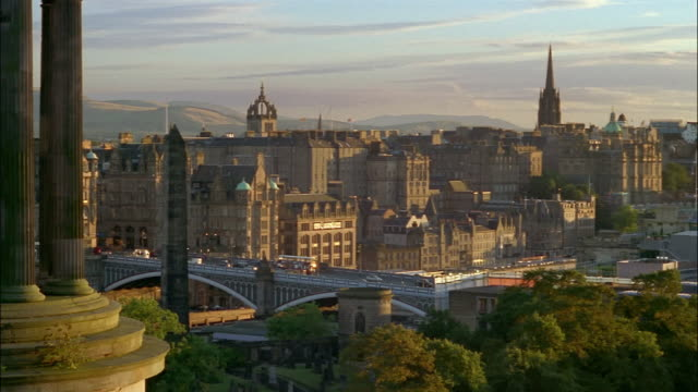 The Dugald Stewart Monument fills Edinburgh's Old Town skyline.