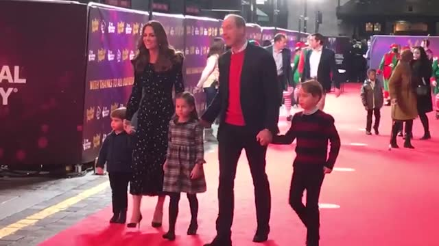 the duke and duchess of cambridge and their three children attend the opening of pantoland at the london palladium on their first red carpet outing... - family stock videos & royalty-free footage
