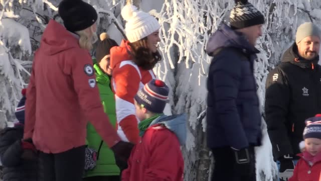 The Duke and Duchess of Cambridge arrive at a ski slope and watch some nursery children learn to ski