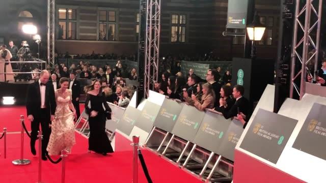 the duke and duchess of cambridge arrive at the royal albert hall for the 73rd british academy film awards - 英国アカデミー映画賞点の映像素材/bロール