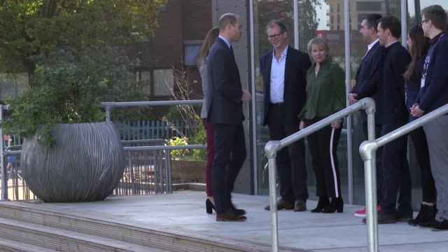 the duke and duchess of cambridge arrive at the troubadour white city theatre in london to attend a volunteer celebration event with the charity... - britisches königshaus stock-videos und b-roll-filmmaterial