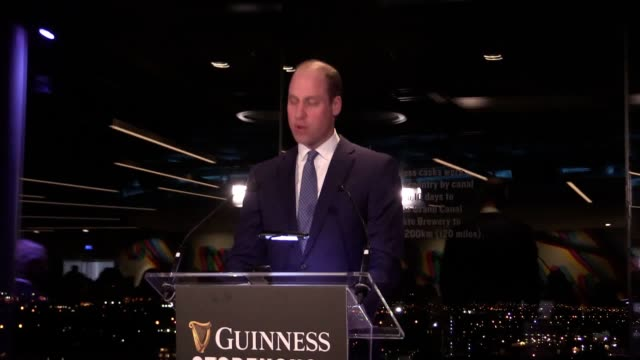 the duke and duchess of cambridge attend an evening reception at the guinness storehouse it is the royal couple's final engagement on their first day... - アイルランド共和国点の映像素材/bロール