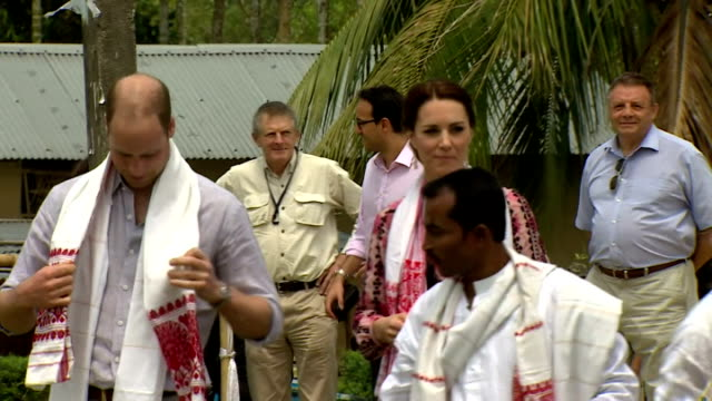 the duke and duchess of cambridge continue their royal tour of india shows prince william and kate arriving at panbari village assam province and... - 野生生物保護点の映像素材/bロール