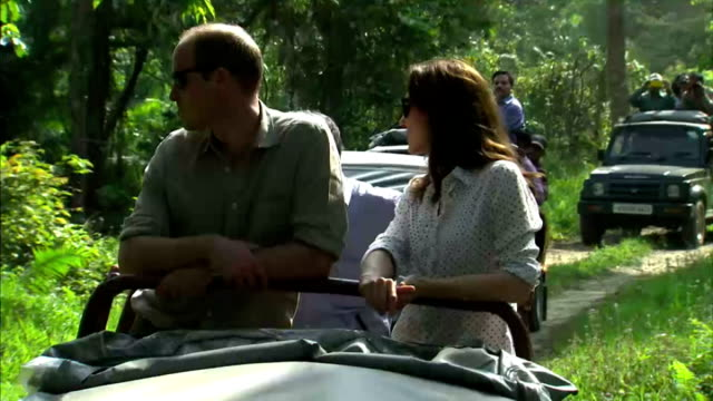 the duke and duchess of cambridge continued their royal tour of india with a visit to kaziranga national park shows prince william and catherine... - safari india stock videos and b-roll footage