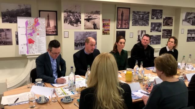 vídeos de stock, filmes e b-roll de the duke and duchess of cambridge during a visit to blackpool tower where they join a round table briefing about the town's recent history and... - testamento