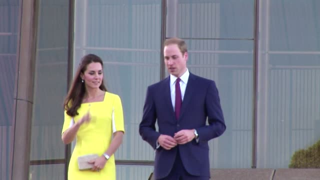 the duke and duchess of cambridge greeted well-wishers at the sydney opera house on the first day of their official visit to australia april 16, 2014... - royal tour stock videos & royalty-free footage