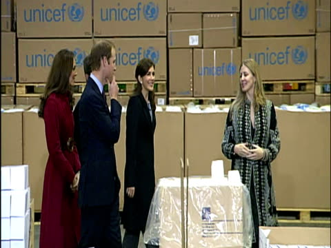 the duke and duchess of cambridge have arrived in denmark for their first humanitarian mission abroad the couple are visiting a un emergency supply... - prinz königliche persönlichkeit stock-videos und b-roll-filmmaterial