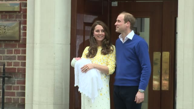 the duke and duchess of cambridge leave the lindo wing, st mary's hospital with their newborn daughter on 2nd may 2015 in london, england. - 2015 stock videos & royalty-free footage
