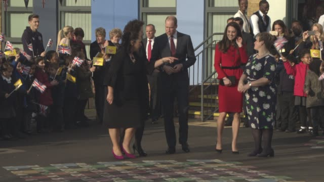 The Duke and Duchess of Cambridge leaving the Place2BeBig Assembly with Heads Together for Children's Mental Health Week at Mitchell Brook Primary...