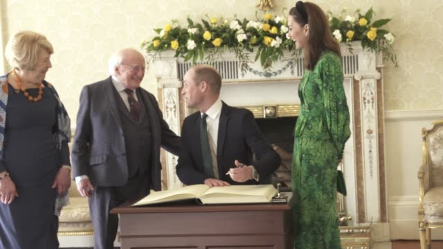 the duke and duchess of cambridge, michael d. higgins, sabina coyne at the duke and duchess of cambridge visit ireland- meeting with the president of... - prince william stock videos & royalty-free footage