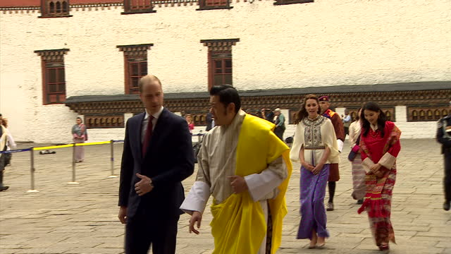 the duke and duchess of cambridge paid a visit to the remote himalayan kingdom of bhutan. shows kate and will accompanied by the bhutanese royal... - bhutan stock videos & royalty-free footage