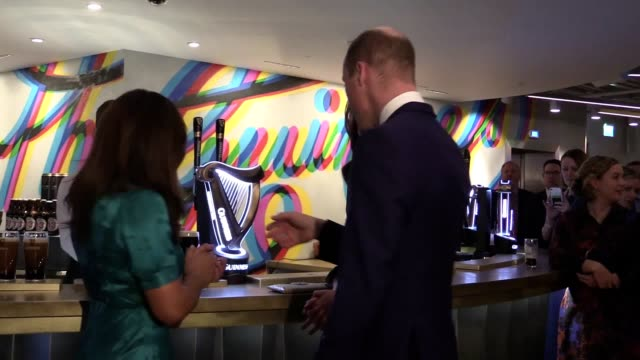 the duke and duchess of cambridge sample a pint of guinness at the guinness storehouse brewery in dublin - アイルランド共和国点の映像素材/bロール