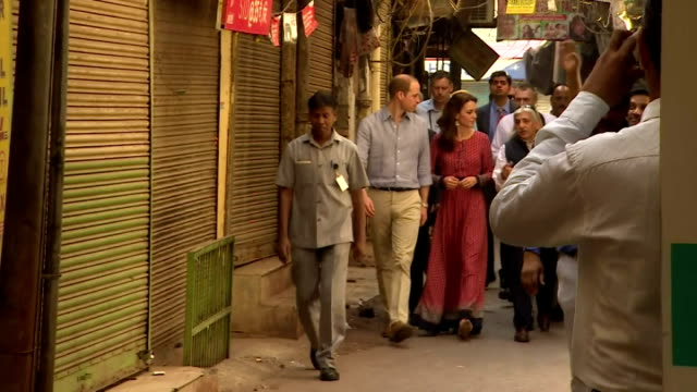 the duke and duchess of cambridge visited a charity working with street children at delhi railway station while on their royal tour of india shows... - duchess of cambridge stock videos and b-roll footage