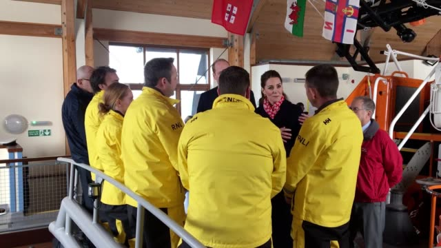 the duke and duchess of cambridge visited rnli's mumbles lifeboat station where they boarded a boat and spoke to rescue crew members. they spoke... - royalty stock videos & royalty-free footage