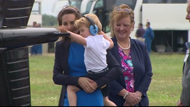 the duke and duchess of cambridge visited the world's largest military airshow the royal international air tattoo at raf fairford prince george got a... - raf fairford stock videos and b-roll footage
