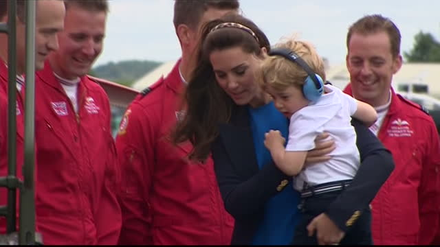 the duke and duchess of cambridge visited the world's largest military airshow the royal international air tattoo at raf fairford prince george was a... - raf fairford stock videos and b-roll footage