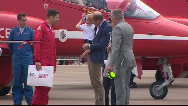 the duke and duchess of cambridge visited the world's largest military airshow the royal international air tattoo at raf fairford prince george... - raf fairford stock videos and b-roll footage