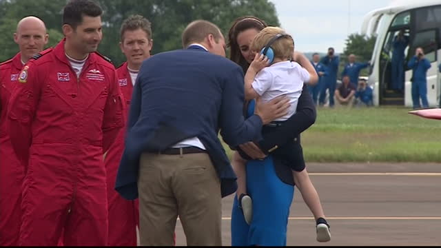 the duke and duchess of cambridge visited the world's largest military airshow the royal international air tattoo at raf fairford prince george wore... - raf fairford stock videos and b-roll footage