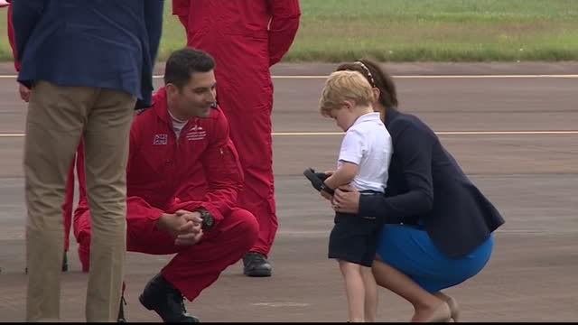 the duke and duchess of cambridge visited the world's largest military airshow the royal international air tattoo at raf fairford prince george... - tattoo stock videos and b-roll footage