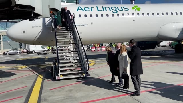the duke and duchess of cambridge walk down the steps of the plane as they arrive at dublin international airport ahead of their three day visit to... - dublin republic of ireland stock videos & royalty-free footage