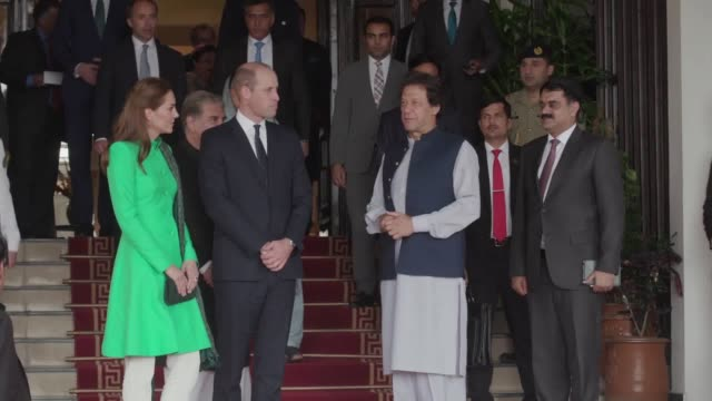the duke and duchess of cambridge with the prime minister of pakistan imran khan following a meeting at his official residence in islamabad during... - pakistan stock videos & royalty-free footage