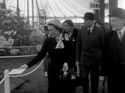 the duke and duchess of gloucester are shown around the flower marquee at the chelsea flower show 1953 - chelsea flower show stock-videos und b-roll-filmmaterial