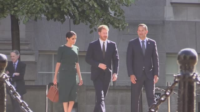 The Duke and Duchess of Sussex arrive and leave Government Buildings during their visit to Dublin Ireland Taoiseach Leo Varadkar gives them a tour