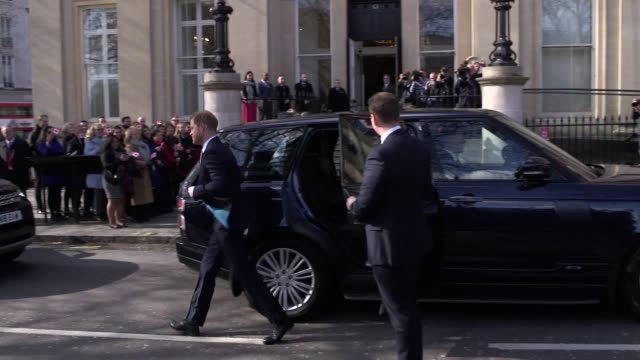 the duke and duchess of sussex arrive at canada house in london for a commonwealth day youth event celebrating the diverse community of young... - canada house stock videos and b-roll footage
