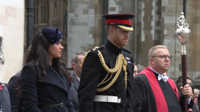 the duke and duchess of sussex at westminster abbey on november 07, 2019 in london, england. - prince harry stock videos & royalty-free footage