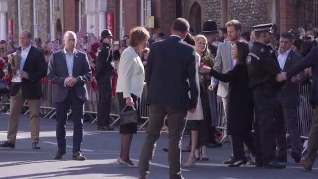 The Duke and Duchess of Sussex greet fans outside Edes House in Chichester on their first joint official tour to Sussex