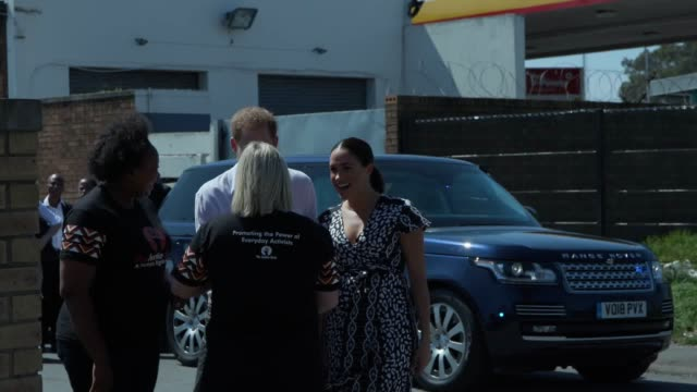 the duke and duchess of sussex kick off their south african royal tour they visited the nyanga township in cape town and met with organisers of a... - sussex stock videos and b-roll footage