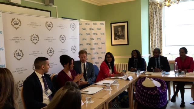 vídeos y material grabado en eventos de stock de the duke and duchess of sussex lead a roundtable discussion on female empowerment and new initiatives to improve gender equality at windsor castle... - meghan duchess of sussex