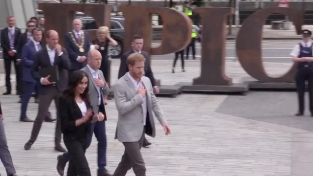 The Duke and Duchess of Sussex leave the Epic museum after their final engagement of their visit to Dublin