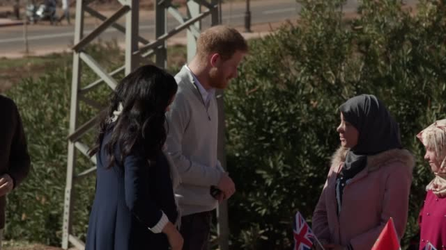 the duke and duchess of sussex meet school children as they arrive at the 'education for all' boarding house in asni town atlas mountains on the... - harry meghan tour stock videos and b-roll footage