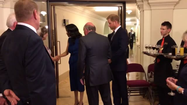 The Duke and Duchess of Sussex meet with Lord Dannatt and Lesley Garrett who was performed at '100 Days to Peace' an evening of music marking the...