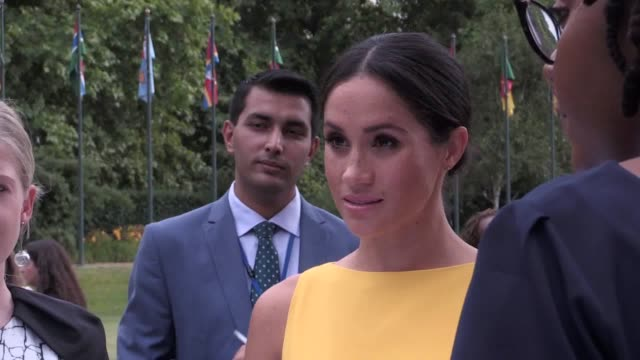 The Duke and Duchess of Sussex meet youngsters from across the Commonwealth during an event at London's Marlborough House at an event hosted by...