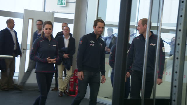 The Duke Duchess of Cambridge visit Portsmouth for the America's Cup World Series Shows interior shots Sir Ben Ainslie showing the Duke Duchess of...