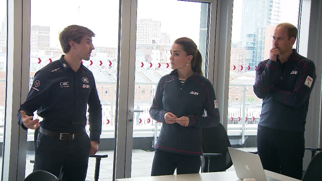 the duke duchess of cambridge visit portsmouth for the america's cup world series shows interior shots the duke duchess of cambridge speaking with... - hampshire england stock videos & royalty-free footage