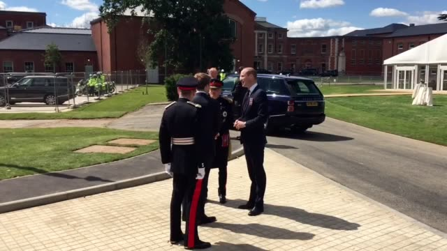 vídeos de stock, filmes e b-roll de the duke of cambridge arrives at the defence and national rehabiliation centre and is greeted by the duke of westminster hugh grovsenor general sir... - theresa may