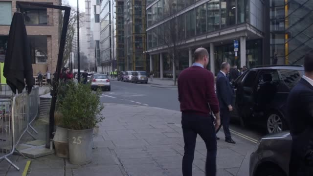 stockvideo's en b-roll-footage met the duke of cambridge departs the launch of the heads up weekends at paddington's heist bank, london. the heads up weekends will see every football... - english football association